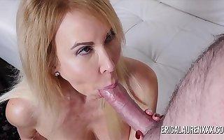 Mature Erica Lauren wraps her lips around a big cock