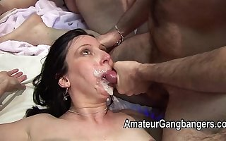 Mature fucked hard and taking facial cum