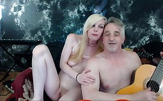 Real couple making love. Old young taboo relationship