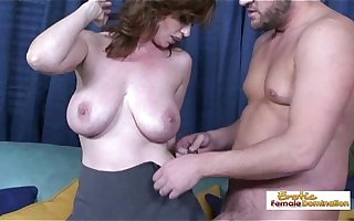 Pale naturally busty MILF getting her puristic pussy drilled